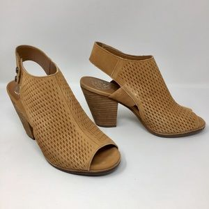 Like New Vince Camuto Genuine Suede Peep-Toe Heels